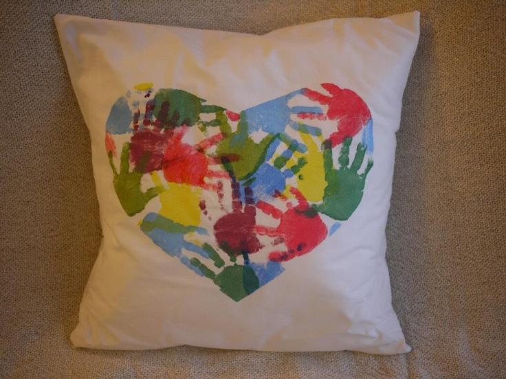 Hand print heart cushion