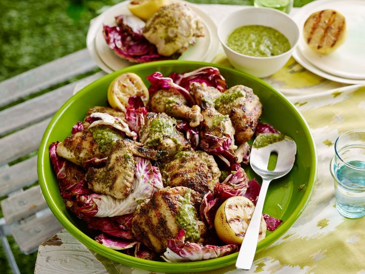 Grilled Chicken with Garlic-Herb Dressing and Grilled Lemon recipe from Tyler Florence via Food Network