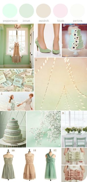 Colore matrimonio, tema matrimonio, wedding color, inspiration board, mood board, mint wedding, matrimonio verde menta, colore matrimonio ve...