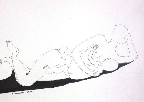 Motherhood art // original drawing mother by elisavetasivas, €11.00
