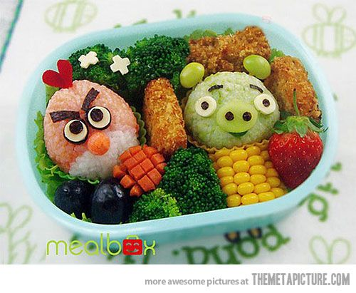 Angry birds meal: Bento Lunches, Bento Boxes, Birds Food, Design Handbags, Fingers Lakes, Lunches Boxes, Angry Birds, Food Art, Birds Bento