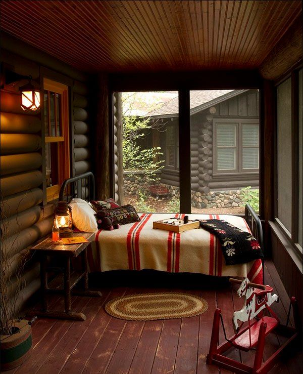 Rustic Bedroom Design, screened in sleep porch