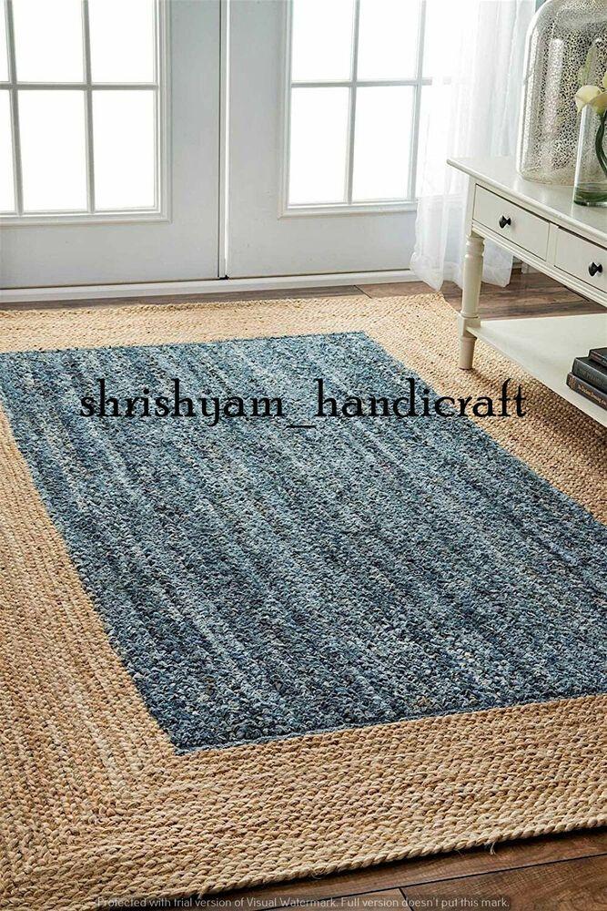 Indian Braided Floor Handmade Jute Cotton 6x9 Feet Reversible Colorful Door Mat