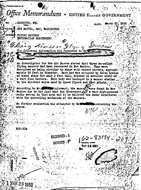 Is this really proof of alien life visiting us here on Earth? A copy of the 1950 memo that recounts the discovery of flying saucers and aliens in Roswell, New Mexico    The document was published by the FBI along with thousands of other files available in a new online resource called The Vault.