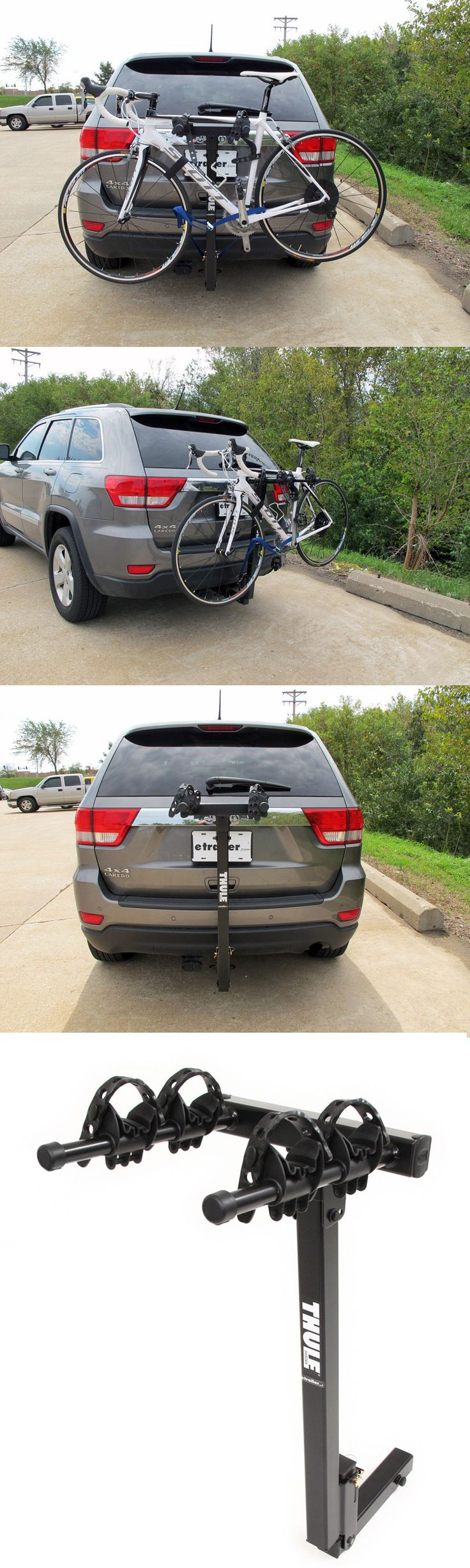 Dual arm, hitch-mounted bike rack efficiently transports bikes to and form the biking site. Compatible with the Jeep Cherokee - is able to tilt back and forth for easy access to rear cargo area.