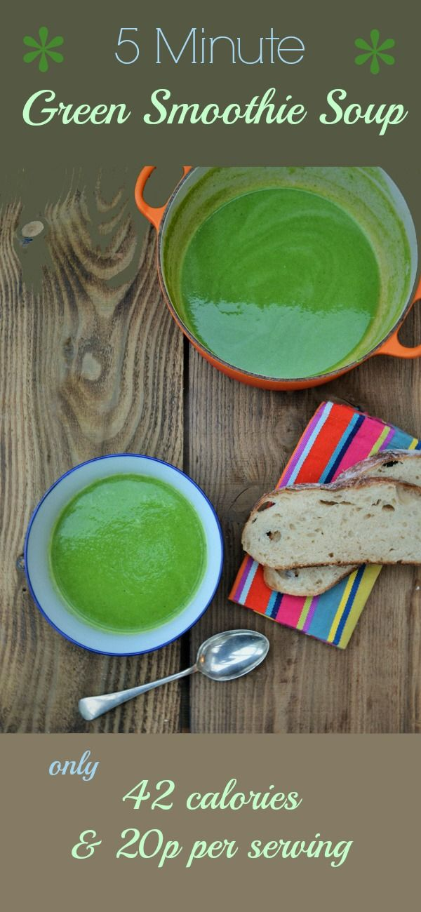 5 Minute Green Smoothie Soup. Quick, easy to make & super tasty. Only 20p and 42 calories per serving.