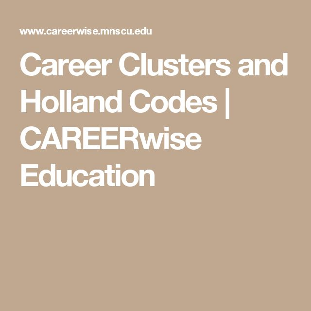 Career Clusters and Holland Codes | CAREERwise Education