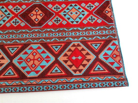 Ethnic Tribal Style Upholstery Fabric, Aztec Navajo Fabric, Geometric Design Kilim Fabric, Claret Red-Turquoise, by the Yard/Meter, Ycp-001