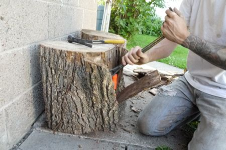Diy tree stump side tables bye bye brooklyn diy for Diy wood stump side table