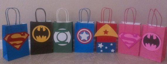 Superhero Party Bags- Superman, Batman, Green Lantern, Captain America, WonderWoman, Batgirl, Superwoman