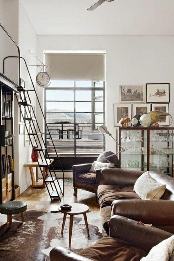 Коричневый кожаный диван, большая спальня, современный салон, крытый промышленный