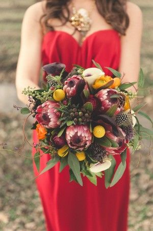 gorgeous bouquet! red accented with rich purples, shades of violet, and orange. Pistil and Vine--fall wedding!