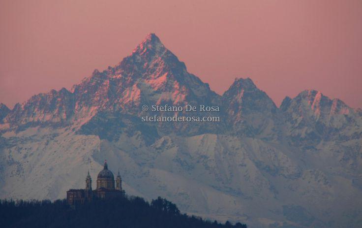 Basilica of Superga and the huge Monviso's peak just before sunrise, Turin, Piemonte, Italy