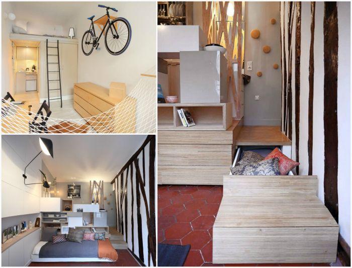 Крошечная квартира-студия в Париже.
