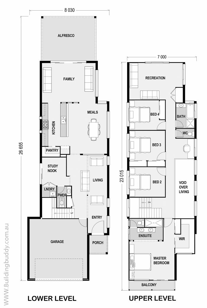 902 best archi floor plans images on pinterest floor for Narrow house plans with garage in back