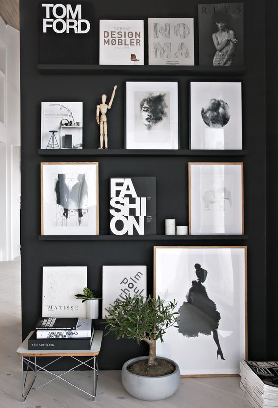 gorgeous examples of scandinavian interior design black wall decorblack wall artmodern - Modern Room Decor