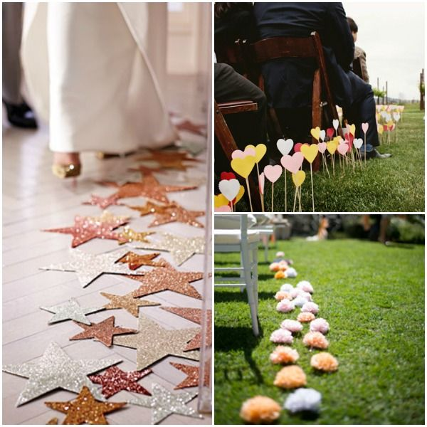 5 Ideas For Your Wedding Ceremony Aisle Decorations - Stars, Hearts, Pom-Poms - mazelmoments.com