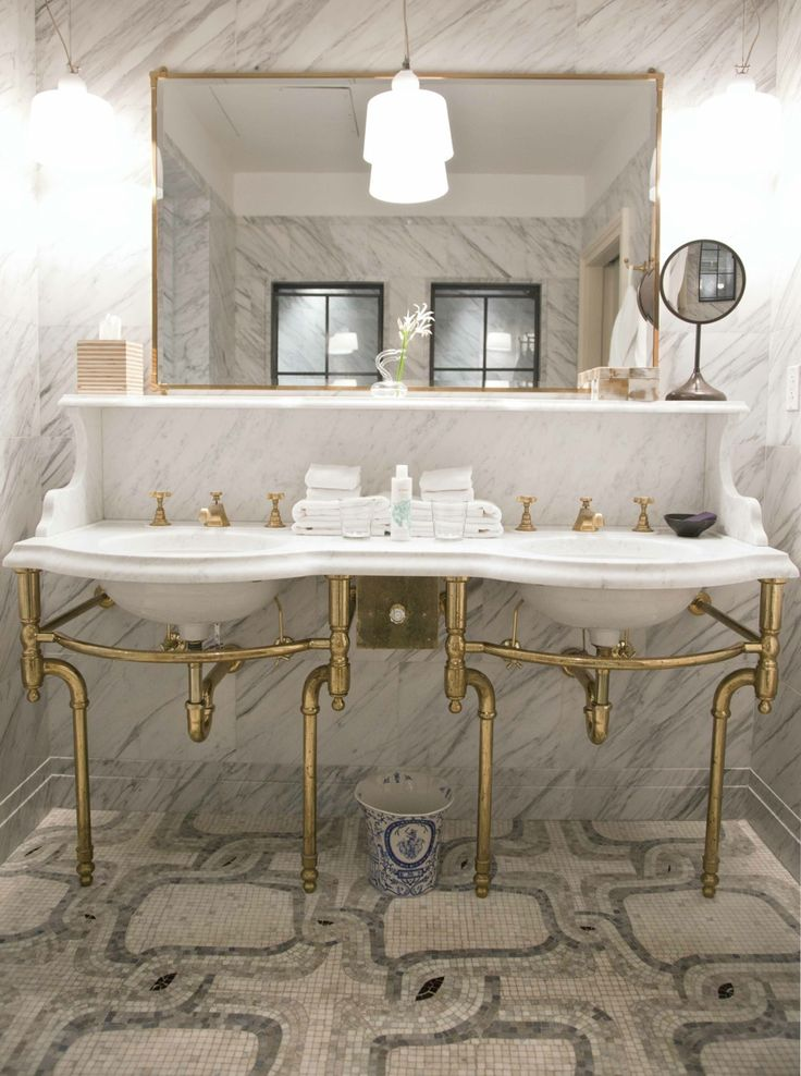 Beautiful Marble Double Vanity Sink With Solid Brass Base