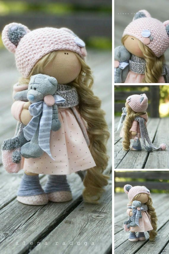 Fabric Doll Handmade Doll Textile Doll Cloth Doll Muñecas Tilda Doll Collectable Rag Doll Gray Doll Soft Doll Baby Doll Poupée by Alena __________________________________________________________________________________________   This is handmade soft doll created by Master Alena R (Moscow, Russia). All dolls stated on the photo are mady by artist Alena. You can find them in our shop searching by artist name. Here are all dolls of artist Alena: https://www.etsy.com/shop/Ann...