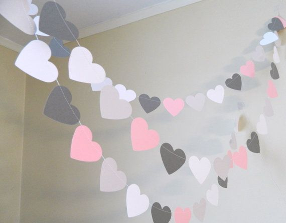 Paper Heart Garland/ 10ft Pink Gray and White Paper Hearts /Wedding Decor /Bridal Shower Decor /Photo Prop / Heart Garland / your colors
