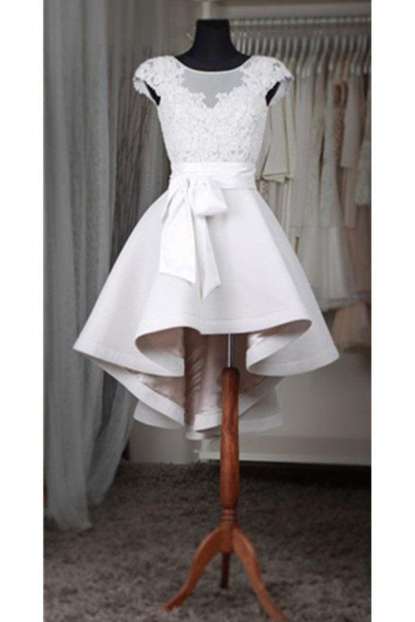 Short Homecoming Dress,White Homecoming Dress,High Low Homecoming Dress,Lace Homecoming Dress For Teens,Cap Sleeves Homecoming Dresses , Homecoming Dress,17186