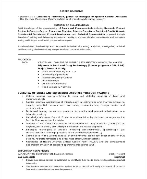 Lab Technician In 2020 Lab Technician Resume Summary Examples