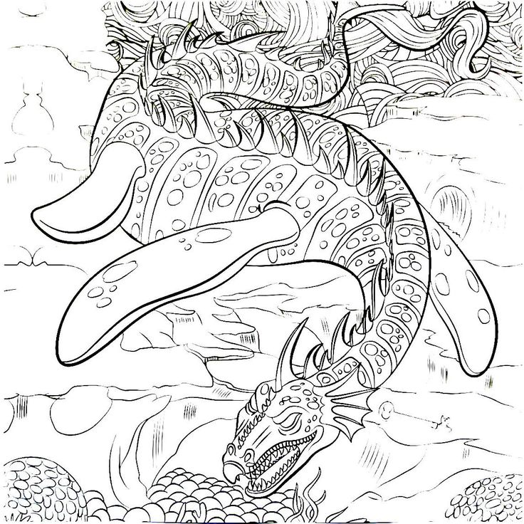 Dragon Coloring Book Page For Adults