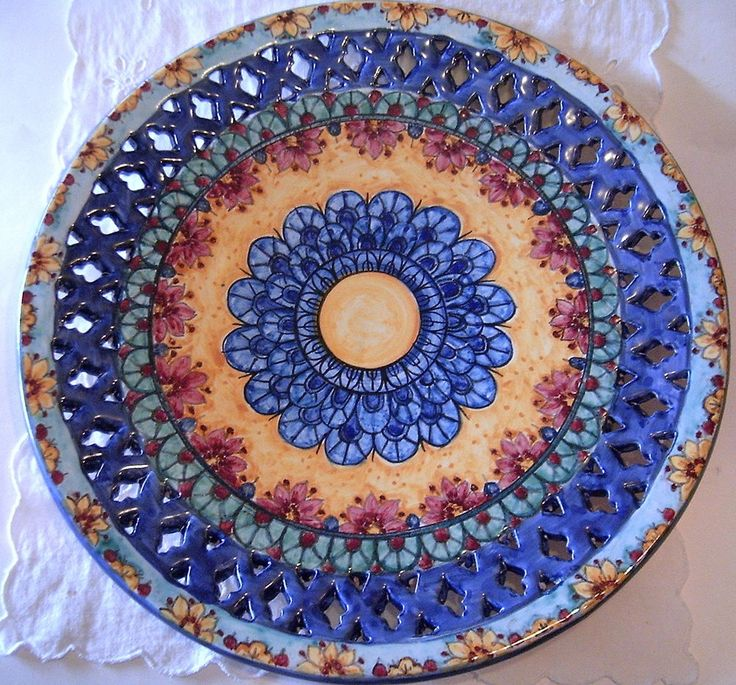 Piatto murale in maiolica.Mandala 32cm diametro