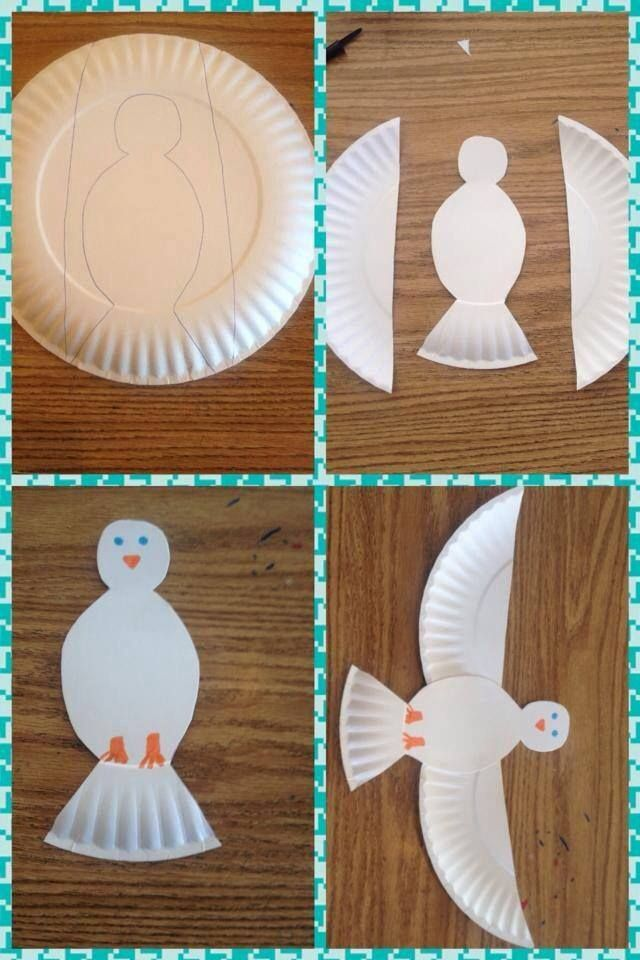 Paloma de la paz con plato de cartón