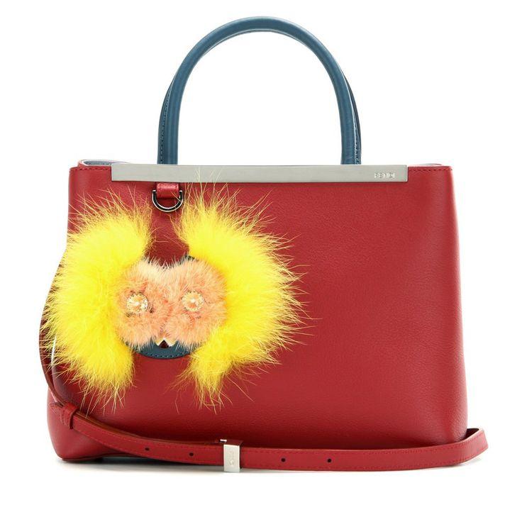 Fendi 2Jours Petite Embellished Leather Tote