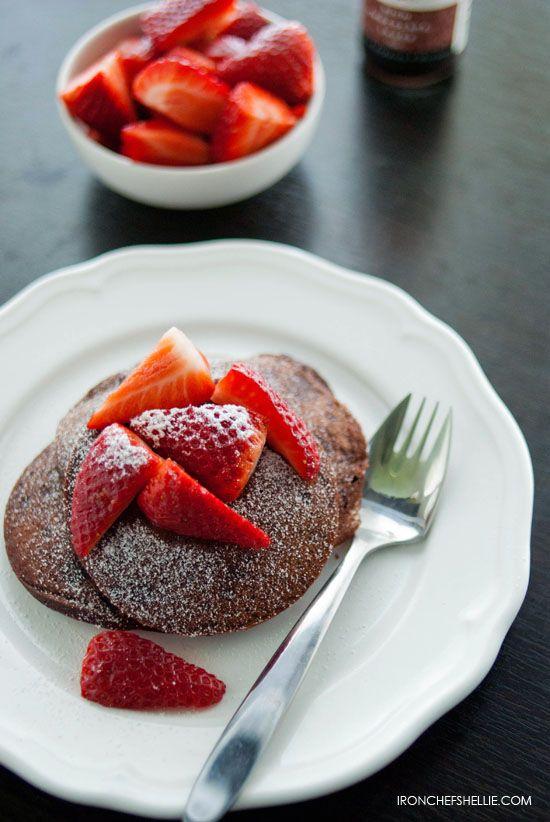 Brownie Batter Pancakes http://ironchefshellie.com/2012/07/27/brownie ...