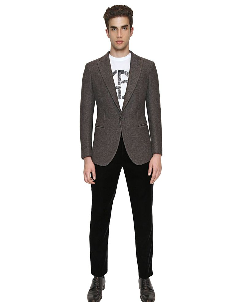 giorgio armani heathered wool jacket luisaviaroma