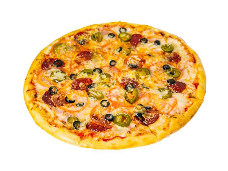 Хот Айленд  Острая пицца с перцем «Халапеньо», салями, пепперони, беконом и помидорами.  Вес: 550 г 430.00 руб.