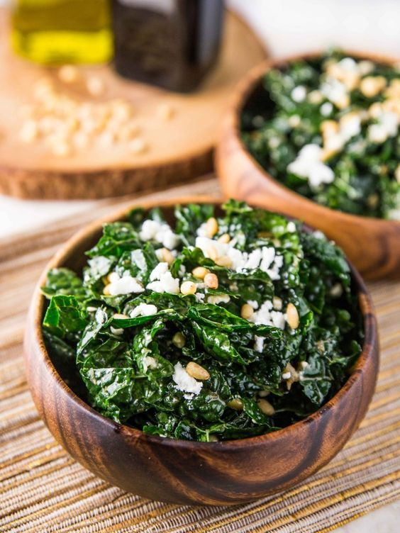Warm Kale Salad with Goat Cheese Pine Nuts and Sweet Onion Balsamic Dressing