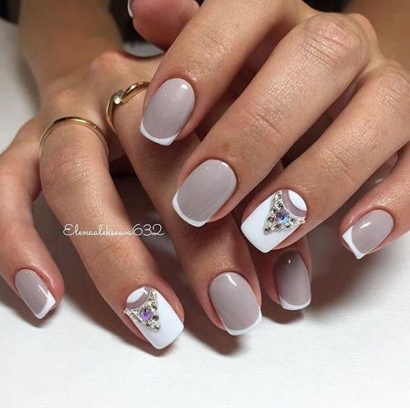 French manicure ideas 2017, Gentle nails 2017, Gray nails, Grey and white nails, Half-moon nails ideas, Ideas of gentle nails, Ideas of summer french nails, mix match nails