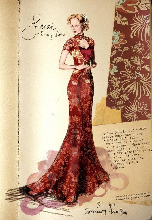 "Costume Illustration - ""Lady Sarah Ashley"" (Nicole Kidman) 'Australia' 2008. Design by Catherine Martin"