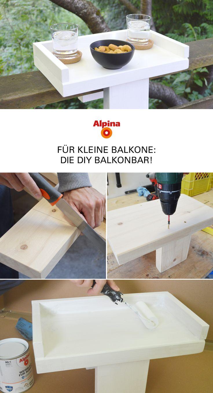 DIY Balkonbar: Holztisch für das Geländer – Alpina Lacke