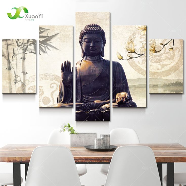5 Panel Modern Printed Buddha Painting Picture Cuadros Decoracion Buda Paintings Canvas Wall Art For Living Room Unframed BU008