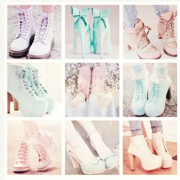 Pastel goth shoes❤ love this trend these are soo cute!