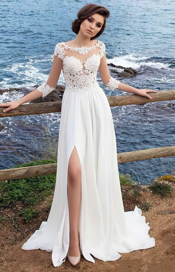 3/4 Long Sleeves Beach Bohemian Wedding Dresses 2018 Chiffon Scoop Neck Appliques Long Bridal Gowns With Side Split