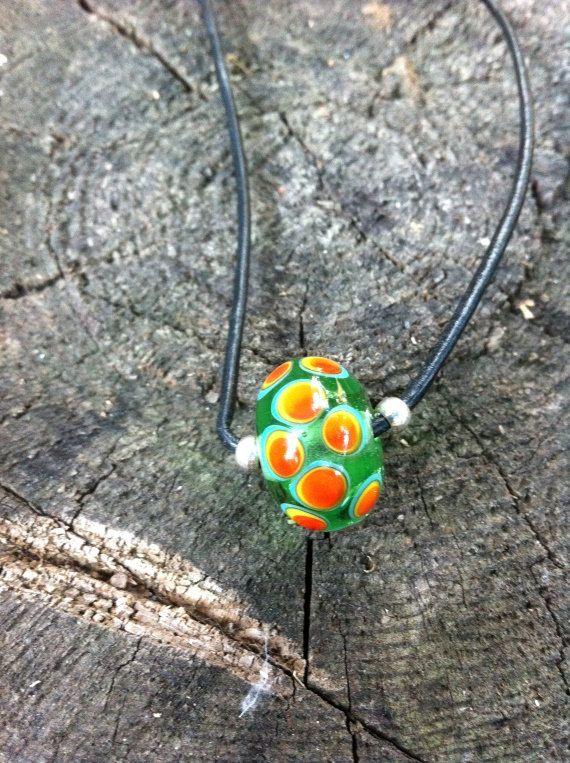 Kette, Halskette, Glasperlenkette, Glasperle, grün, orange, Frauen von vivre4life auf Etsy