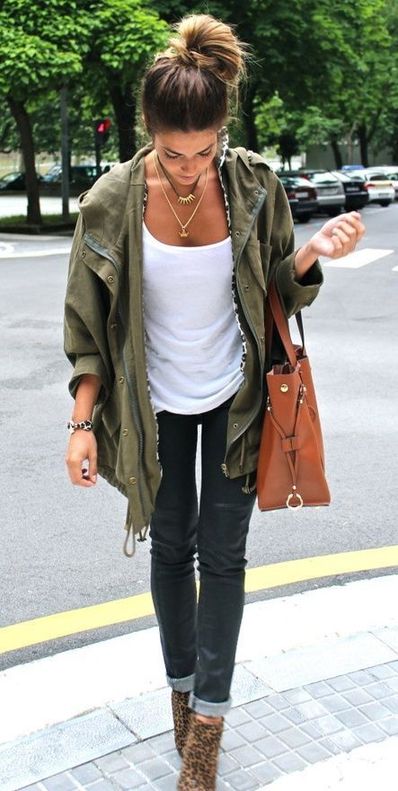 Love army green jackets especially with white and accessories. Not a fan of the shoes. - LP