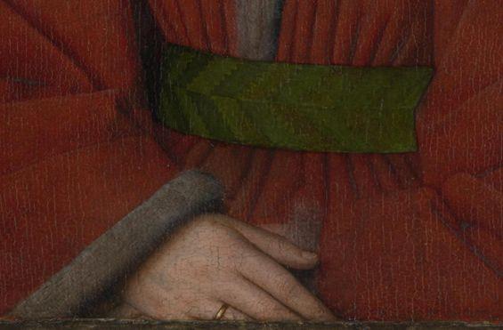 """Jan van Eyck, Portret van Margaretha van Eyck. Verfopbouw vd rode mantel: witte krijtgrondering, dunne laag rood vermiljoen (gekookte lijnzaadolie) met ruwe borstel, modellering plooien met karmijnrood glacis. Schaduwen vleugje beenzwart en natuurlijk ultramarijn, diepste vouwen extra penseelstreek ultramarijn. """"Uitvergroot zien we dat Van Eyck de kleverige verf met zijn vingers of handpalm uitsmeerde om gelijkmatige glacislagen te krijgen.""""…"""
