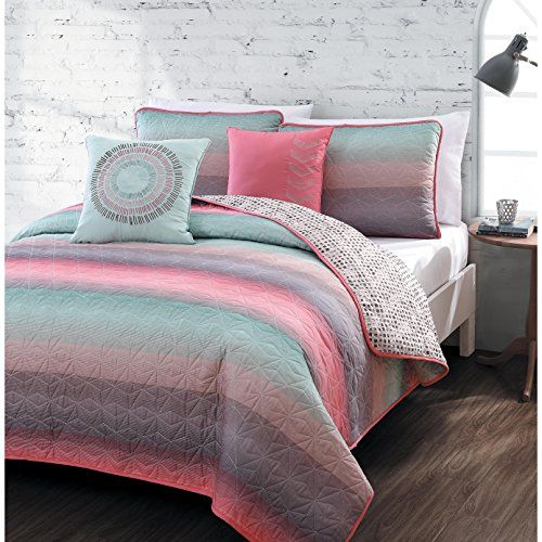 5-piece Queen Quilt Set for Girls Beautiful Coral Pink, Teal Blue, Violet, Colorful, Microfiber Bedding for Teens or Students, Fusion Starburst Stripe Across Pattern >>> CONTINUE @ http://www.amazon.com/gp/product/B01BU9O4H4/?tag=ilikeboutique09-20