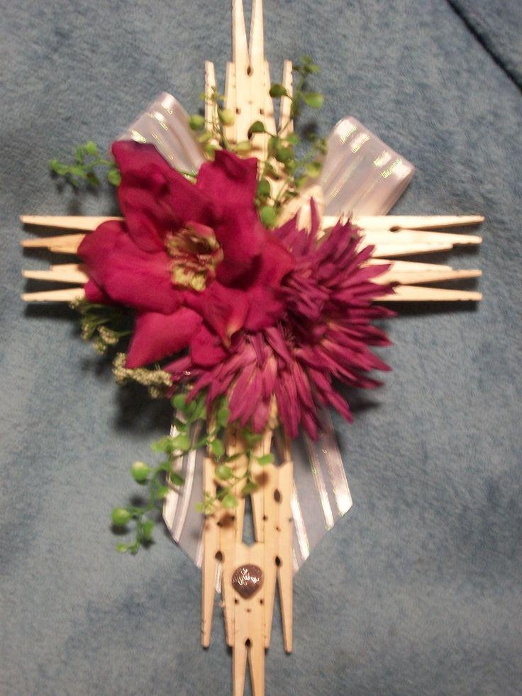 handmade clothespin cross