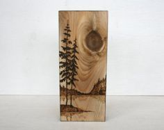 Waters Edge Wood burned Landscape Art on Wood von TwigsandBlossoms