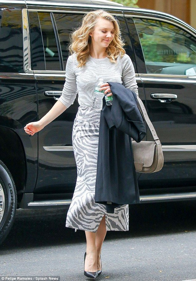 Wild side: Natalie Dormer hit the Manhattan streets in a grey zebra-print ensemble selected by stylist Alison Elwin on Thursday
