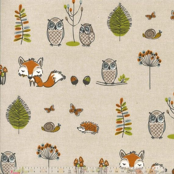 These lovely nursery childrens curtains are made in a woodland creatures design with foxes, owls and hedgehogs in natural greens and browns