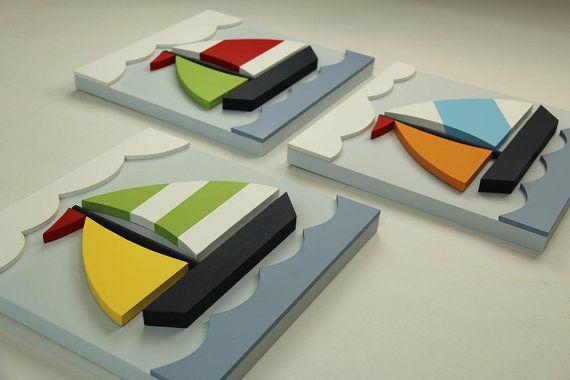Conjunto de 3 veleros madera 3D náutica arte por EleosStudio