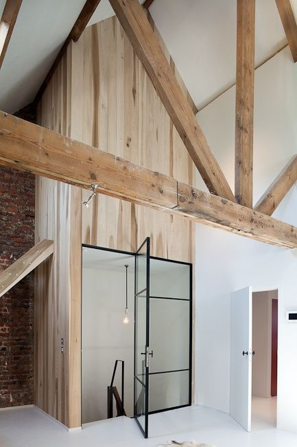 all - beam + wood paneling + brick + white